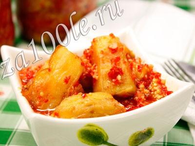 Рецепт острой закуски из баклажанов