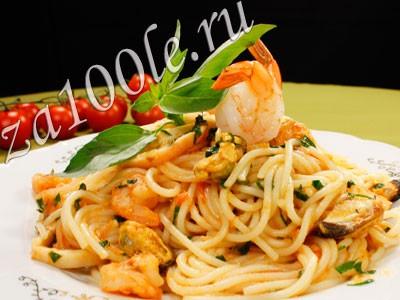 Рецепт приготовления спагетти с морским коктейлем