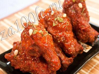 Рецепт приготовления куриных крылышек в остром соусе