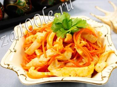 Рецепт приготовления кальмаров по-корейски